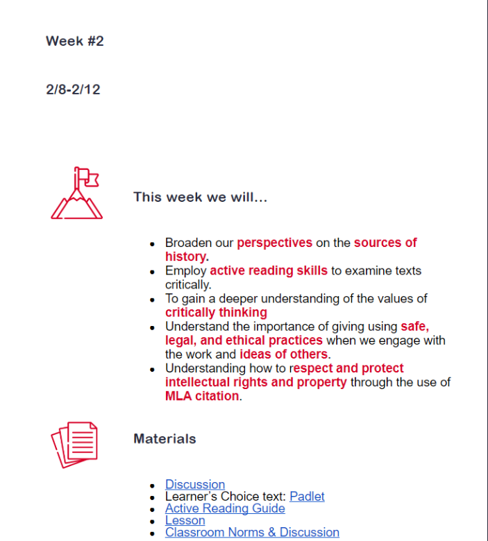 The presentation of this lesson provides learners with headings, bolded text, bulleted and numbered lists, and visual supports for each section. Formatting content in this way supports learners in understanding content and making connections