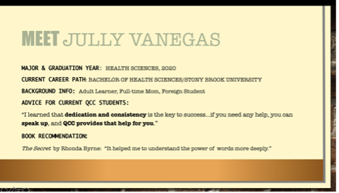 Presentation slide: Meet Jully Vanegas along with some personal details.