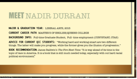 Presentation slide: Meet Nadir Durrani along with some personal details.
