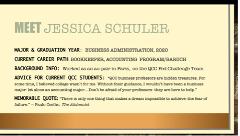 Presentation slide: Meet Jessica Schuler along with some personal details.