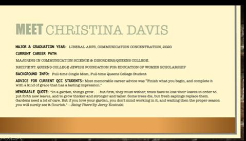 Presentation slide: Meet Christina Davis along with some personal details.